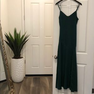 Long satin emerald green maxi with slit